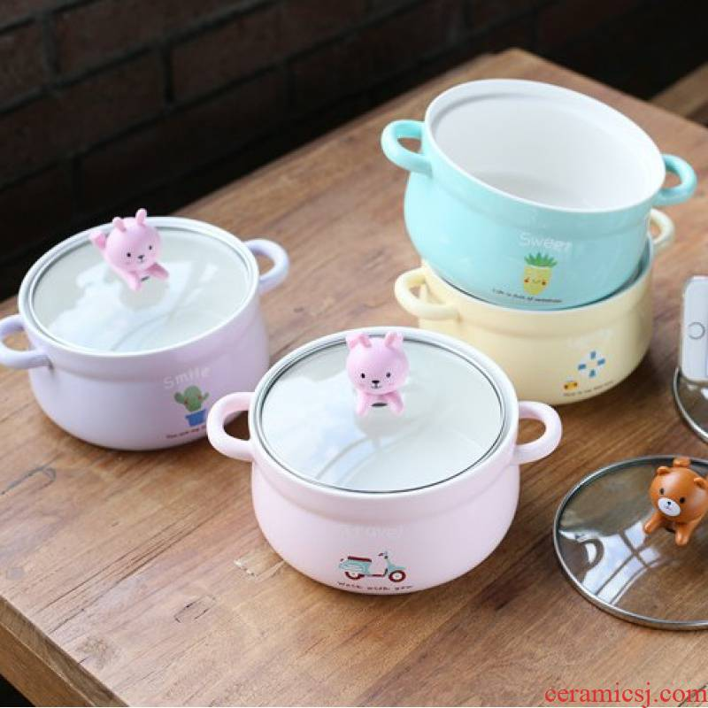 Jingdezhen creative cartoon mercifully rainbow such as bowl with cover ears ceramic bowl, lovely students instant noodles bowl bowl of soup bowl