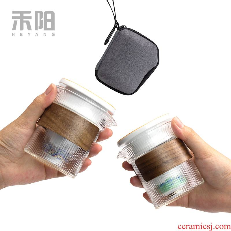 Send Yang glass crack cup hot ceramic a pot of secondary and tertiary prevention cup contracted portable travel kung fu tea set
