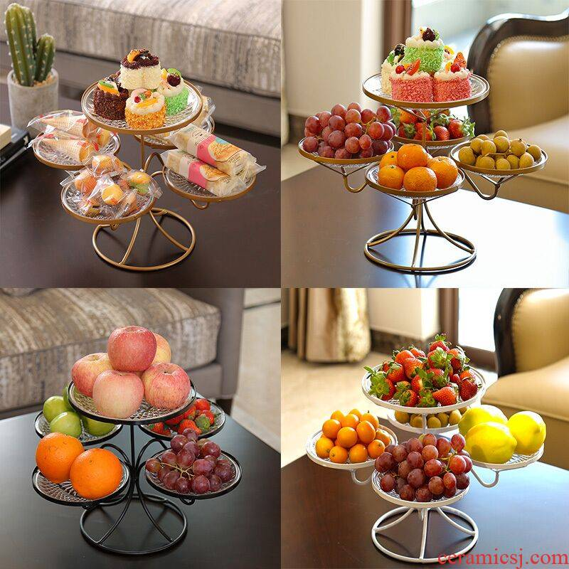 Web celebrity fruit bowl creative household compote sitting room tea table platter multi - function European plastic multi - layer Nordic style