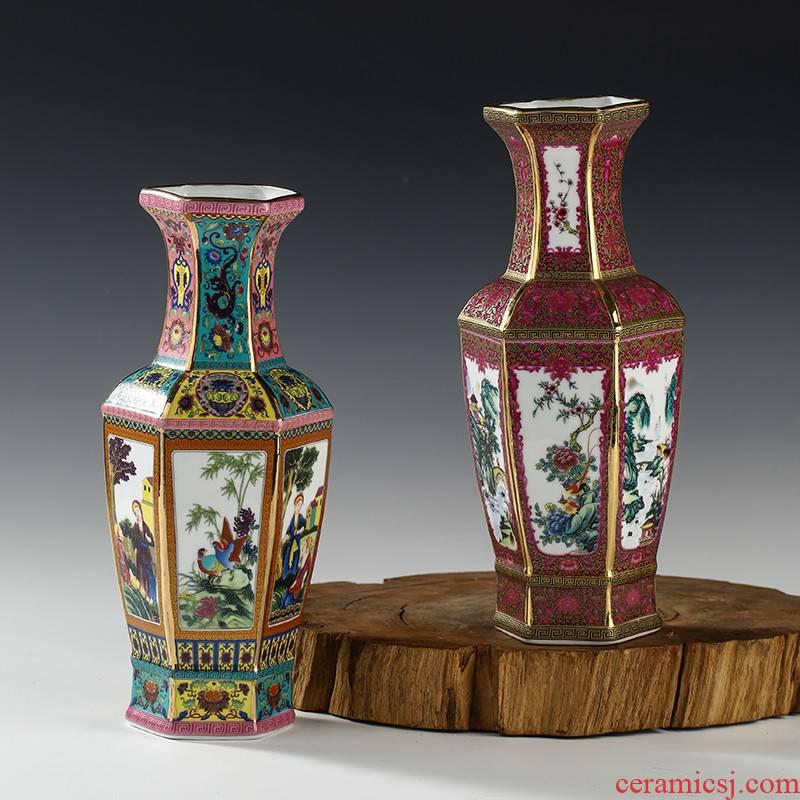 Archaize of jingdezhen ceramics enamel enamel vase Chinese sitting room porch place rich ancient frame ornaments