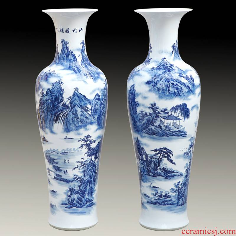Jingdezhen ceramic glaze hand - made porcelain landing big vase under the classical modern hotel furnishing articles in the living room