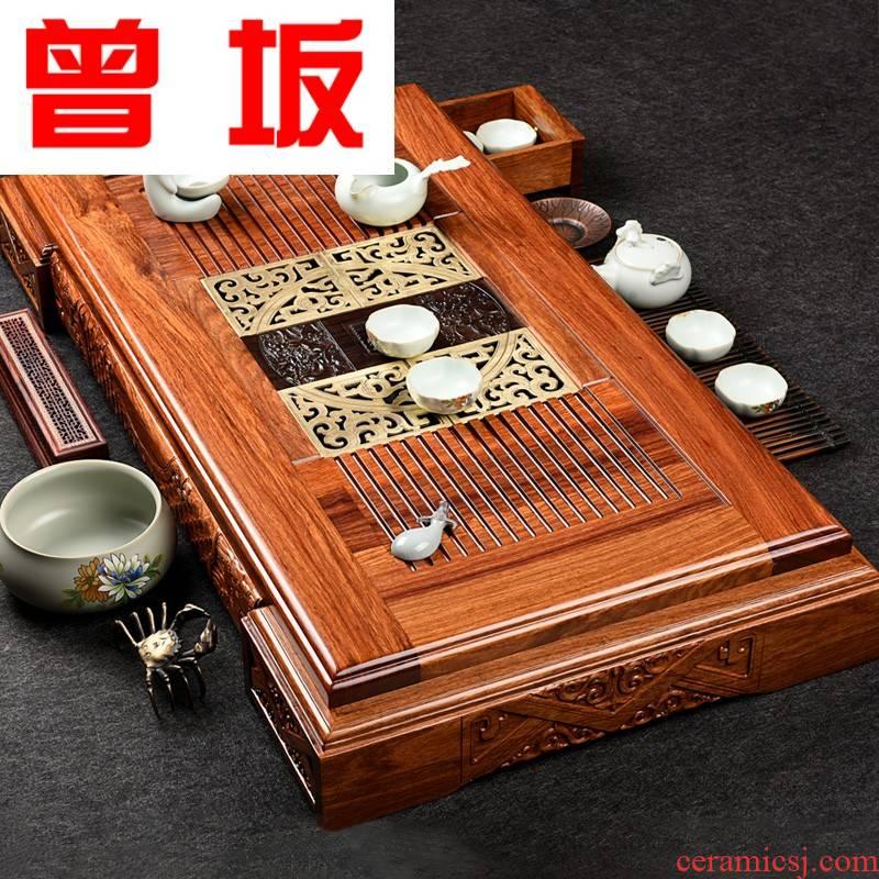 The Who -- tea tray by the pear wood, large annatto tea tray tea saucer sea drainage saucer dish kungfu tea set