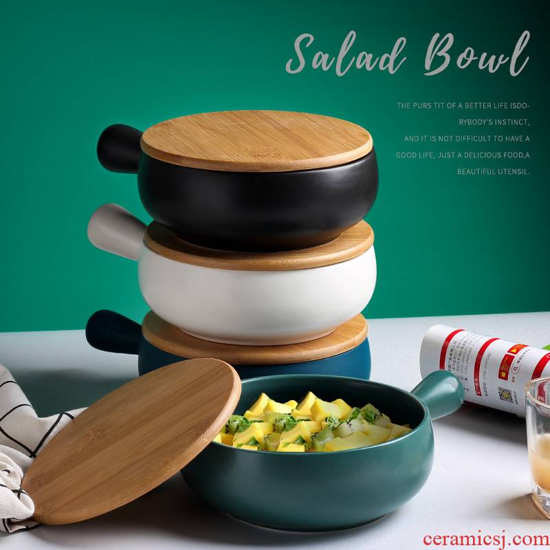 Bake oven baked bread and butter with handle ceramic bowl move home plate instant such as soup with cover fruit salad bowl