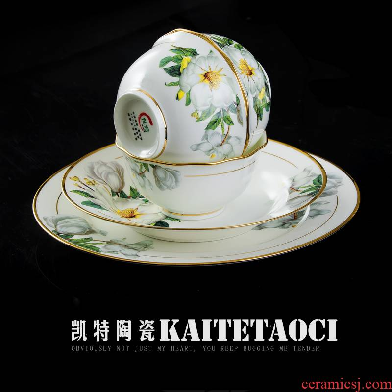 Jingdezhen ceramic tableware suit to use of European style up phnom penh dishes household contracted style bowl dishes suit combinations
