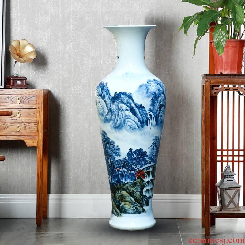 Jingdezhen ceramics hand - made porcelain vase landscape of large sitting room of Chinese style villa TV ark adornment furnishing articles