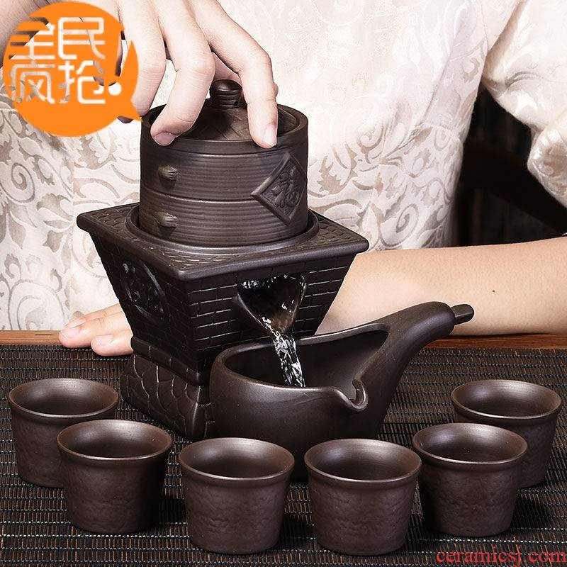 Hui shi violet arenaceous stone mill automatic tea set suit household lazy people prevent hot teapot teacup kung fu tea taking of a complete set of accessories