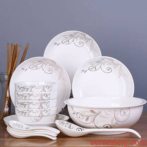 Four people with 18 dishes suit with chopsticks dishes dishes chinaware plate jobs can microwave oven