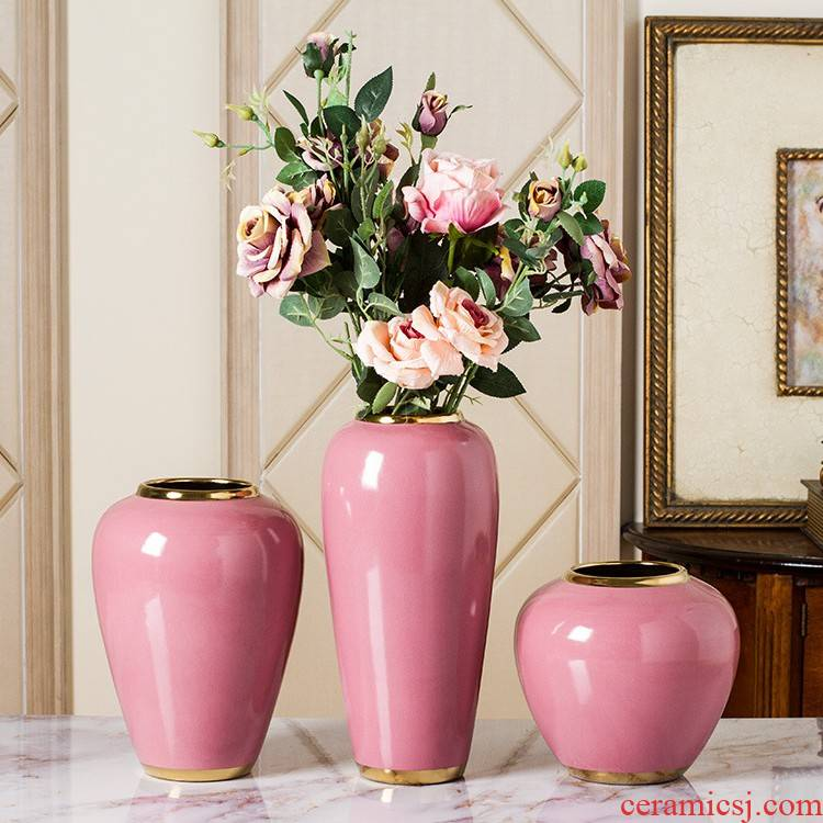 Nordic pink girl northern wind ceramic vase household soft adornment flowers furnishing articles lanbo arts and crafts