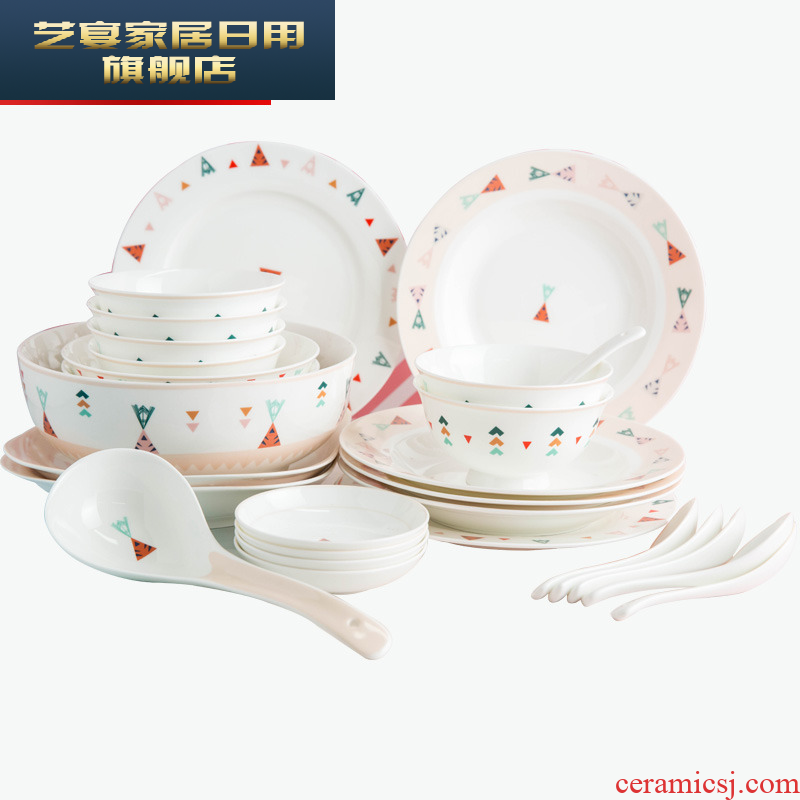 Dishes suit household creative cartoon ceramic disc set to use Chinese jingdezhen Korean contracted plate combination
