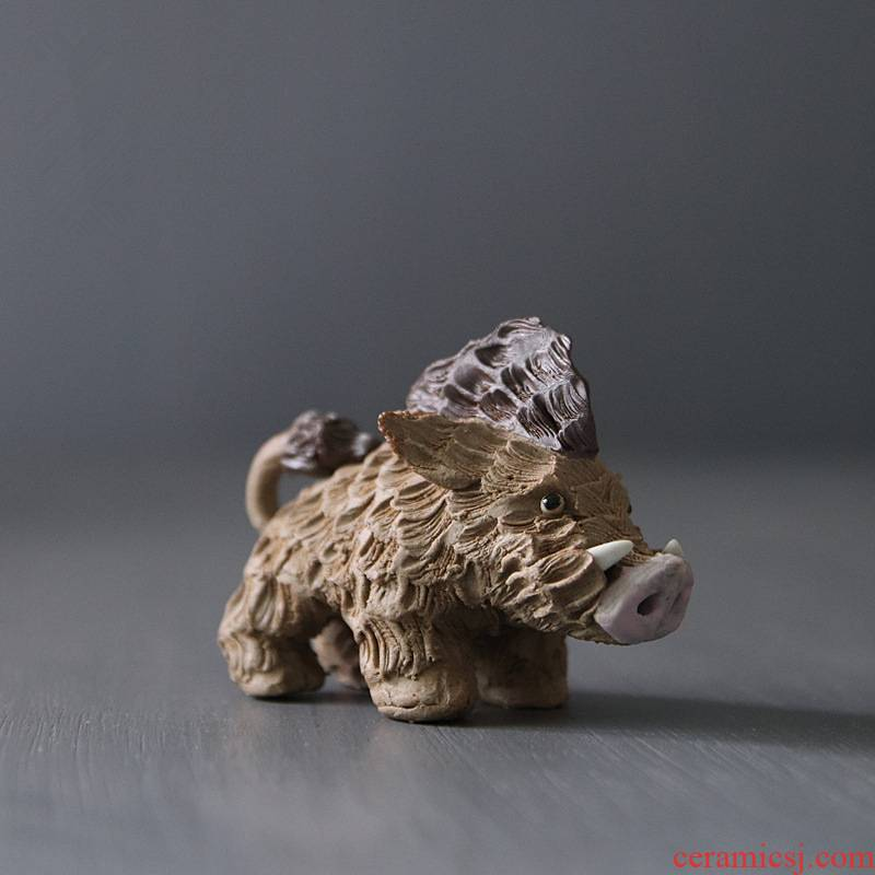 Creative star light ceramic its ice age boar zodiac ornament household act the role ofing is tasted the clay craft gift