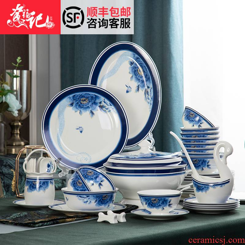 Jingdezhen blue and white porcelain tableware son home dishes suit ipads porcelain bowl set assembly cups ipads plate package box