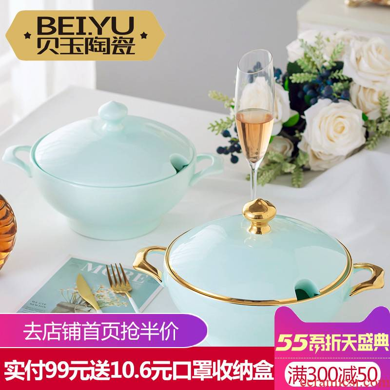 BeiYu celadon bowl large household food bowl with cover bowl mercifully rainbow such use creative ceramic pot soup basin of jingdezhen