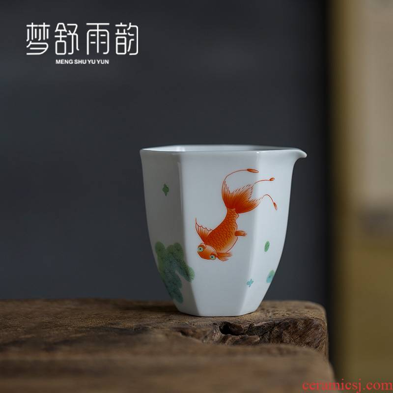 Dream ShuYu rhyme kung fu tea set points white porcelain ceramic fair keller cups of tea household of Chinese style single hand grasp