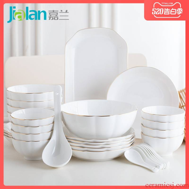 Garland of household ceramics tableware contracted Nordic creative move couples dishes suit, lovely porcelain plate combination