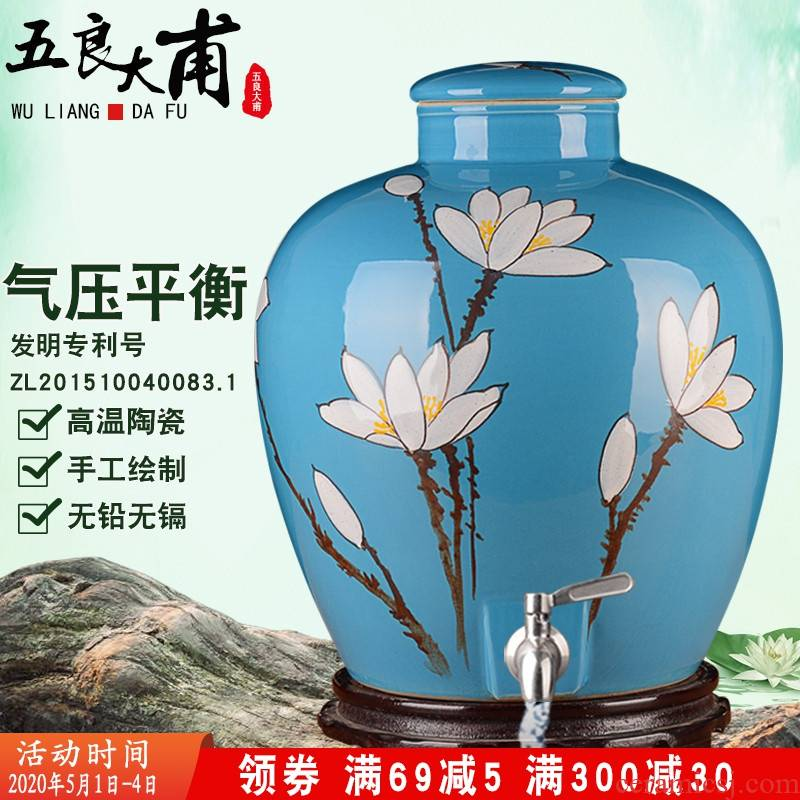 Jingdezhen ceramic home wine jar sealing 10 jins 20 jins 30 jins hand - made altar wine liquor cylinder with the tap