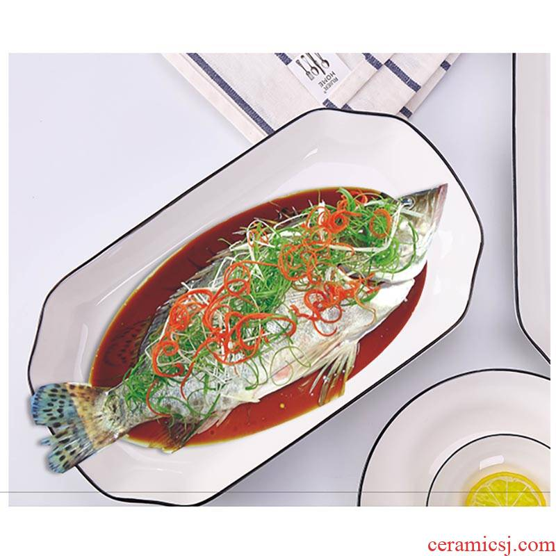 Jingdezhen Nordic contracted household ceramics Japanese food fish plate, the plate deep rectangular steamed fish plate microwave oven dish of 12