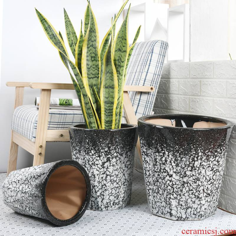 Extra large ceramic flower pot wholesale ice crack glaze contracted land courtyard tiger orchid basin of the rich tree package mail sitting room