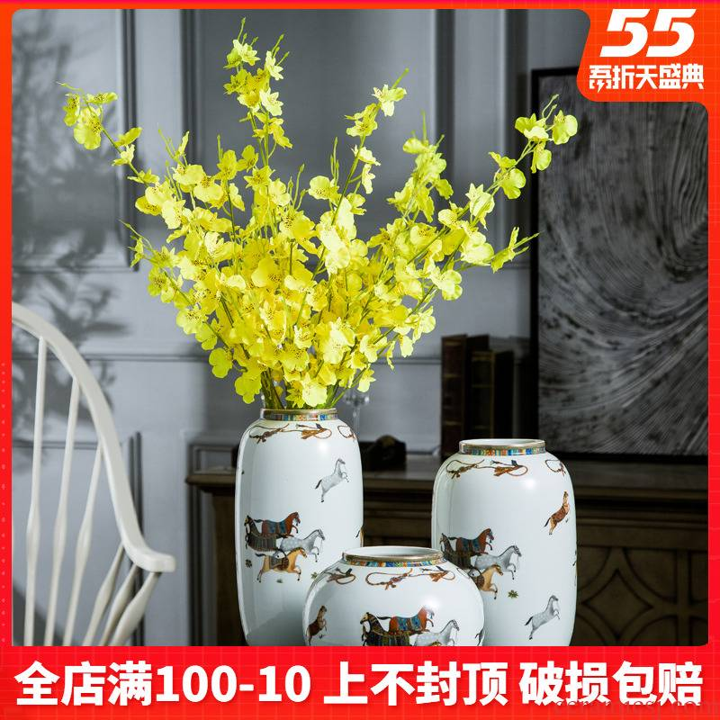 Jingdezhen ceramic dry flower vase furnishing articles sitting room adornment flower arranging creative household decoration TV table wine