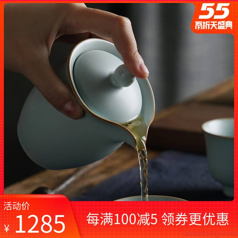 Hand your up Hand grasp pot of jingdezhen ceramic teapot teacup suit household portable kung fu tea set celadon restore ancient ways