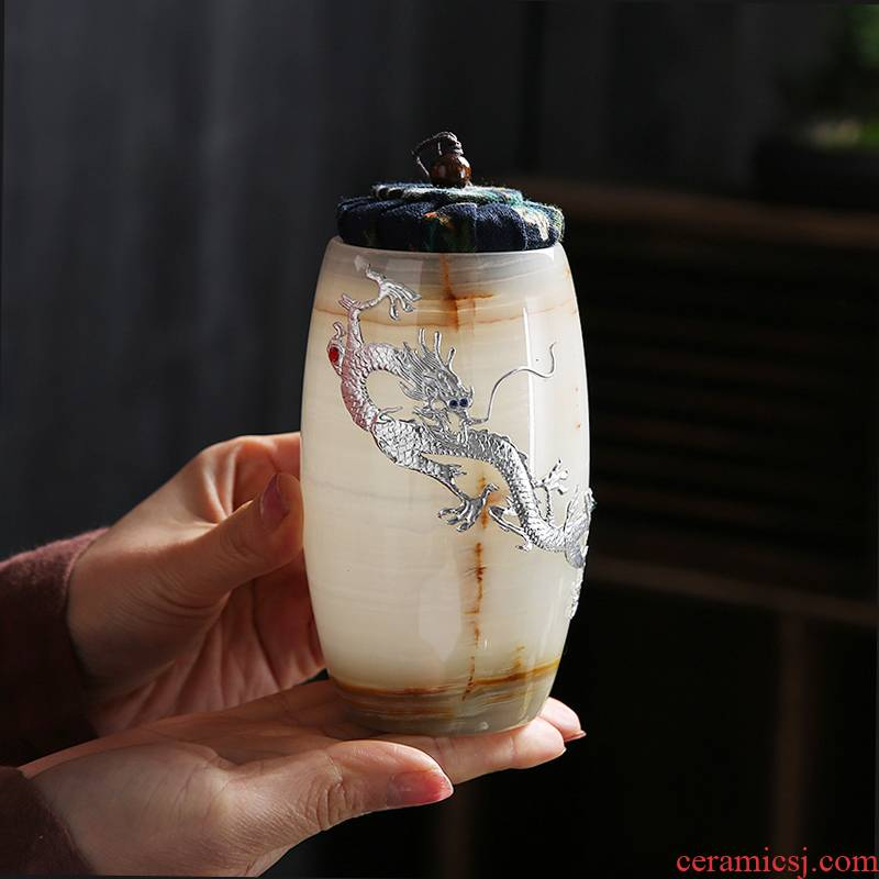 Japanese coloured glaze with silver caddy fixings home portable small storage tanks to restore ancient ways kunfu tea, pu er tea storage warehouse