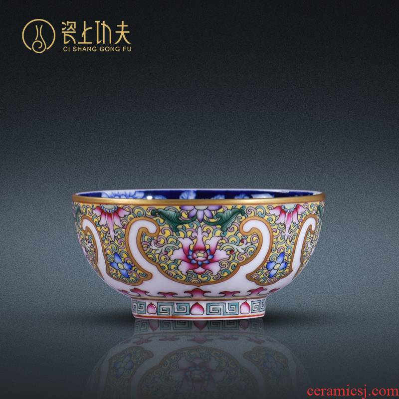 Colored enamel handpainted sample tea cup jingdezhen kung fu tea set archaize master cup single CPU ceramic cups collect gifts