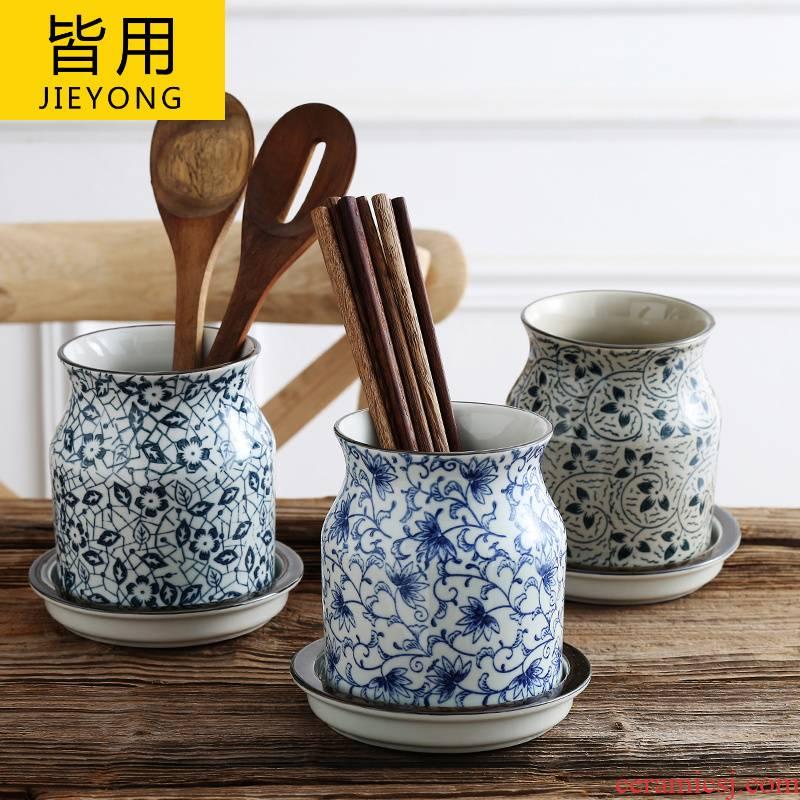 Japanese style household barrels of chopsticks chopsticks tube drop box to receive cage shelf ceramic knife and fork spoon, chopsticks