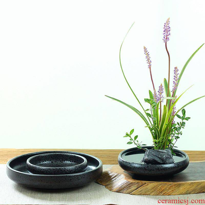 Retro ceramic faceplate platter vessel Chinese Japanese flower arranging flowers tao jian mountain flower arranging, hydroponic spring basin zen