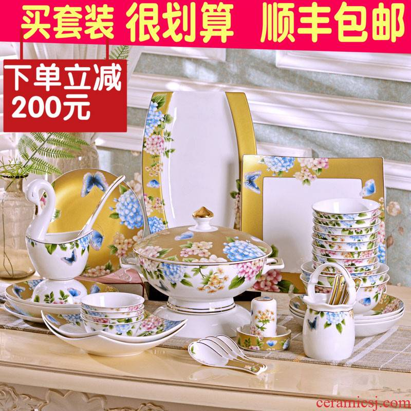 To use which suits for Chinese ipads China jingdezhen household utensils rice bowls deep dish plates spoons gift porcelain tableware