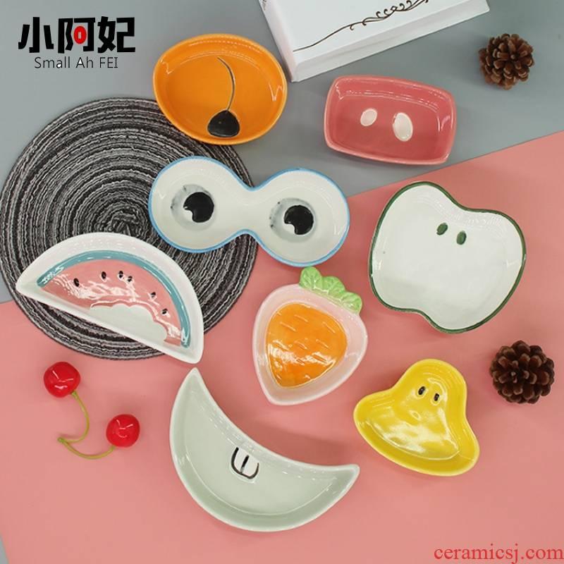 1 household ceramics flavor dish dish dish creative cartoon of pet plate tableware dip vinegar sauce dish dish