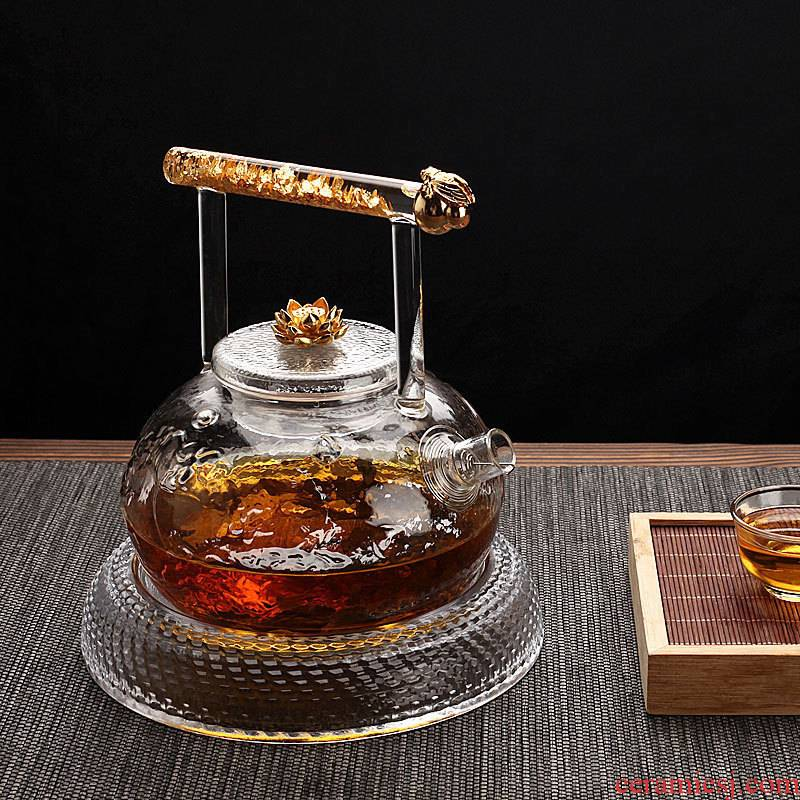 Morning high teapot heat - resistant glass teapot thickening girder kung fu tea pot flower pot black tea accessories