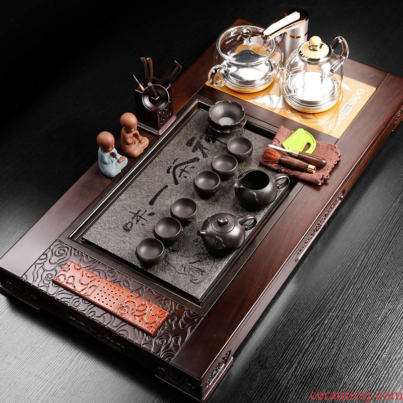 Tea set household of Chinese style restoring ancient ways is solid wood Tea Tea induction cooker integrated automatic set up automatically
