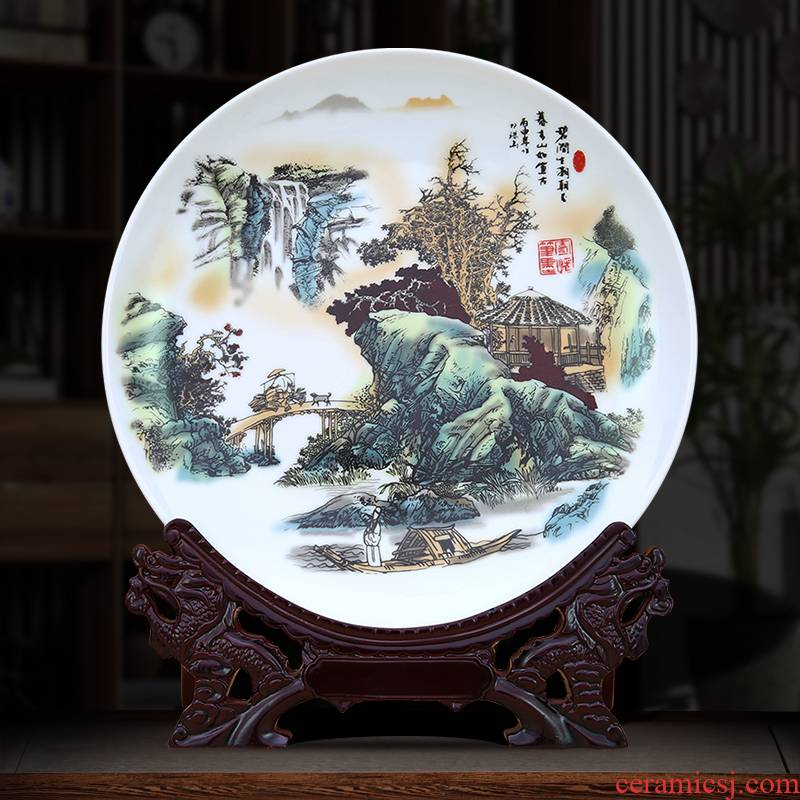 To jingdezhen ceramic plate furnishing articles pastel landscape pendulum plate decoration plate wall hang dish accessories customized designs