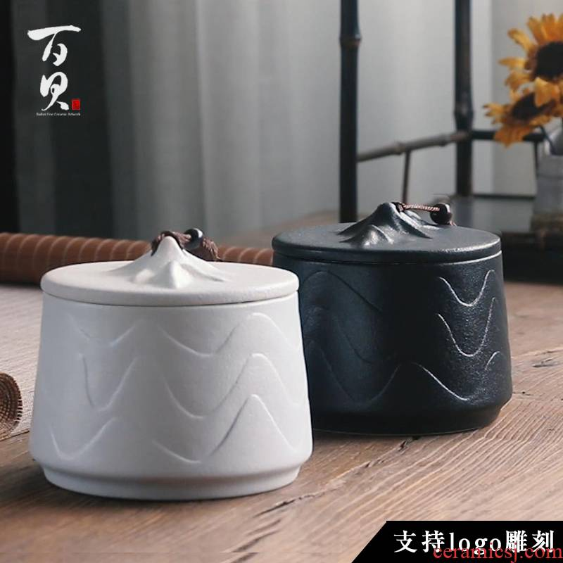 Ceramic tea pot large seal storage tank coarse TaoChan pu 'er tea to wake wind receives support LOGO engraving