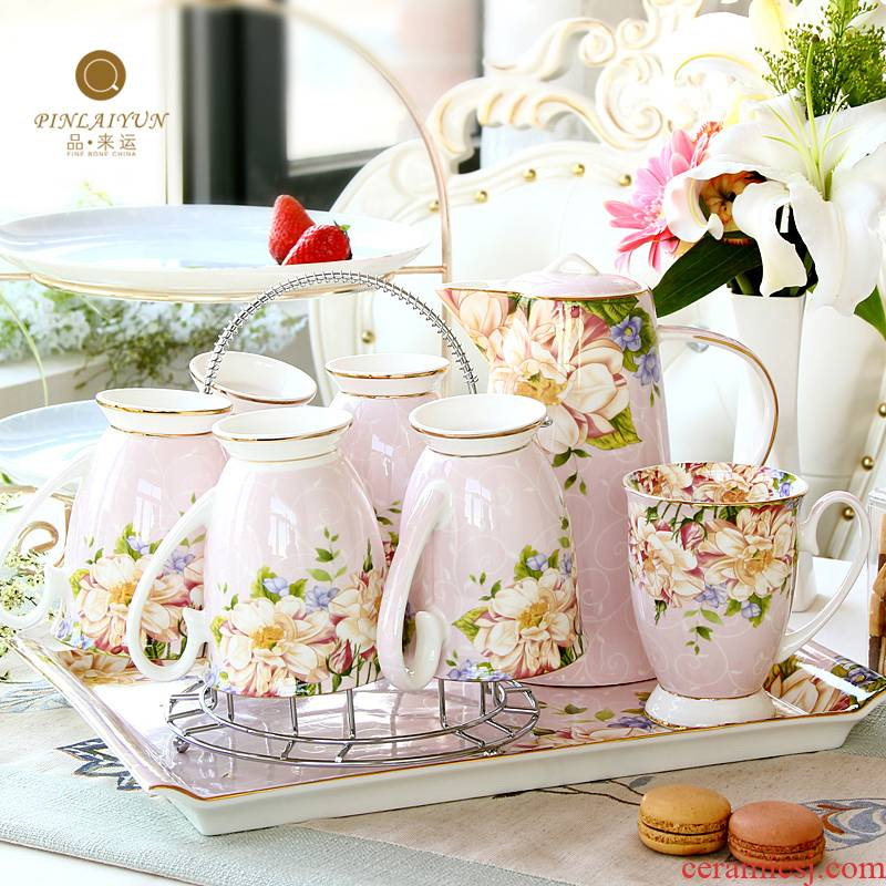 Tea cup cold water bottle glass teapot set ceramic light cold water to ultimately responds the cup home sitting room European - style key-2 luxury