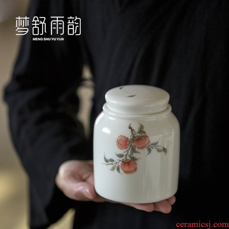 Dream ShuYu rhyme suet white jade hand - made ceramic seal pot moistureproof pu - erh tea caddy fixings waking warehouse Chinese wind