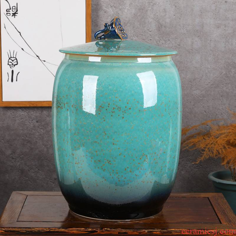 Jingdezhen ceramic barrel ricer box with cover seal tea caddy fixings household water tanks moistureproof multigrain bread cylinder cylinder meter box