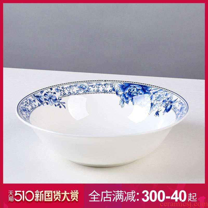 9 inches large soup bowl ipads China jingdezhen nine inch hat to Korean creative glair of blue and white porcelain bowl