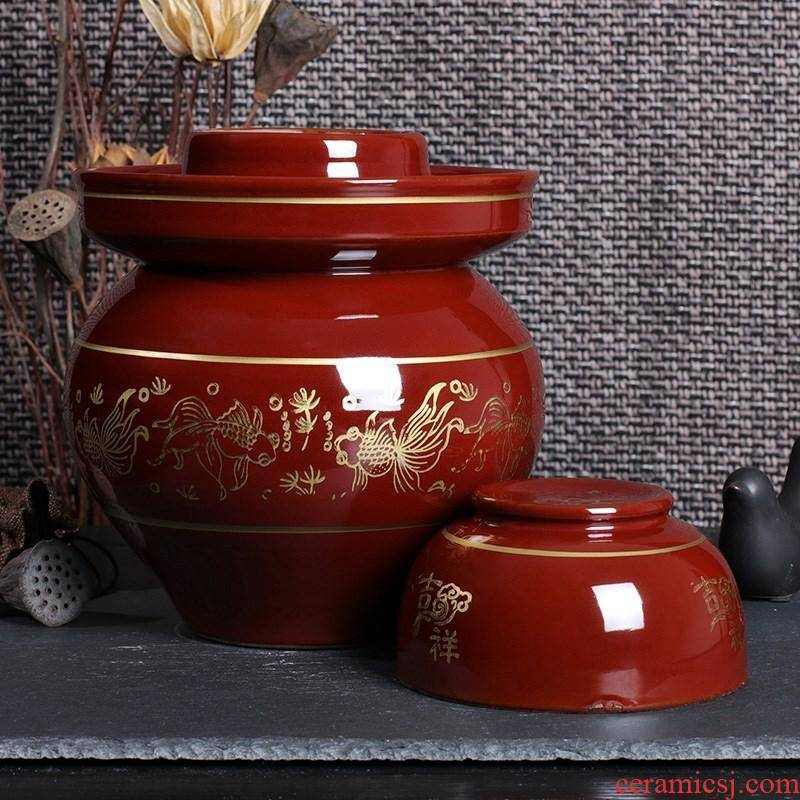 Good luck. Sichuan pickle jar of household kitchen sauerkraut pickled vegetables cylinder with thick soil clay terms ceramic cylinder altar