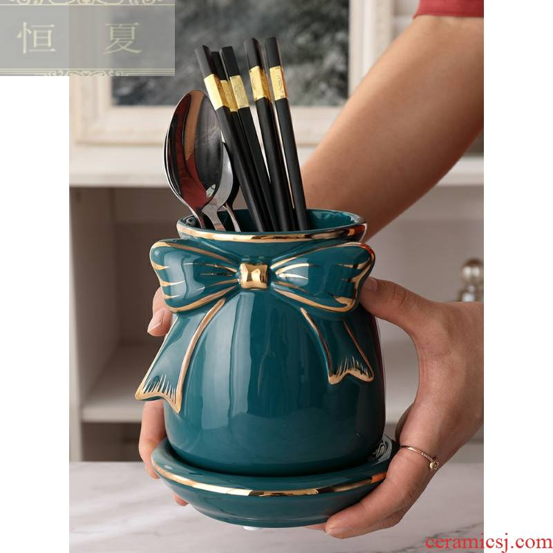 Pure color cage of kitchen utensils, informs ceramic tube drop boxes restaurant put a spoon gift chopsticks basket the bucket