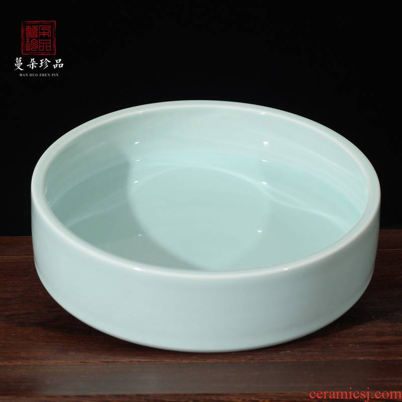 Jingdezhen shadow green celadon elegant tea tray saucer ceramic fruit bowl environmental protection, fashion health fruit