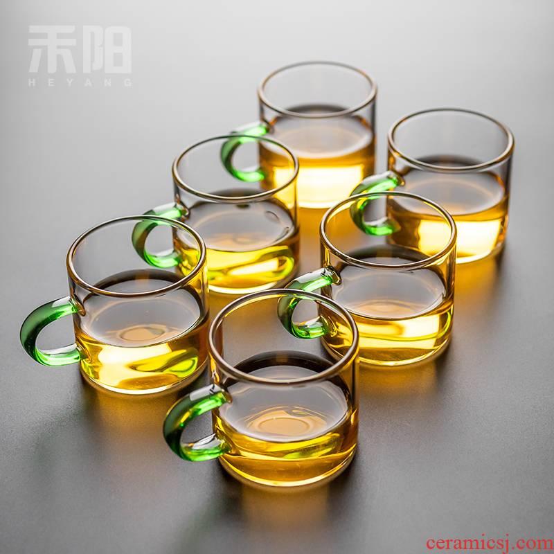 Send Yang noggin kung fu tea set home have the transparent glass cup single tea tea, green tea
