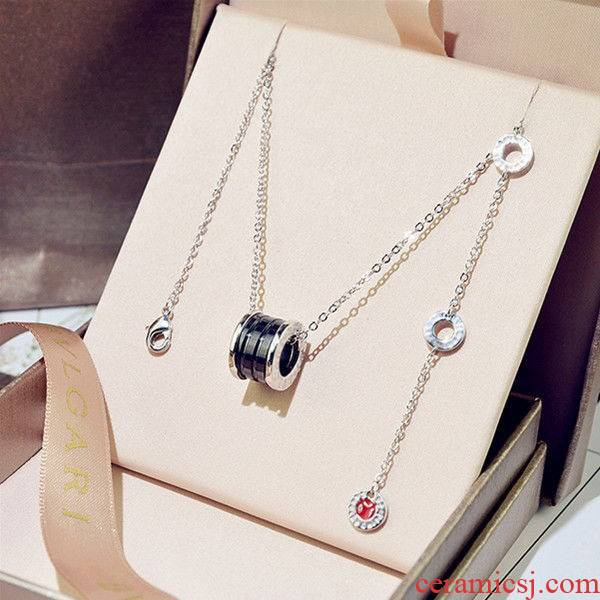 S925 silver spring, black ceramic necklace for men and women web celebrity red charity pendants lovers