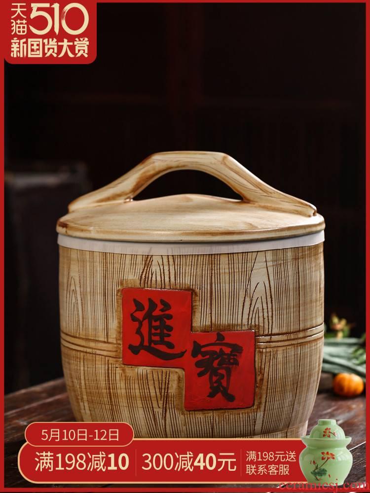 Jingdezhen domestic ceramic barrel seal flour rice storage box 10 jins 20 jins 30 jins to moistureproof insect - resistant ricer box