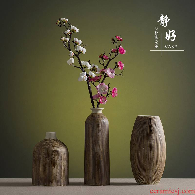 Chinese zen ceramic dry flower simulation into vase household living room TV cabinet decoration American literary restoring ancient ways furnishing articles
