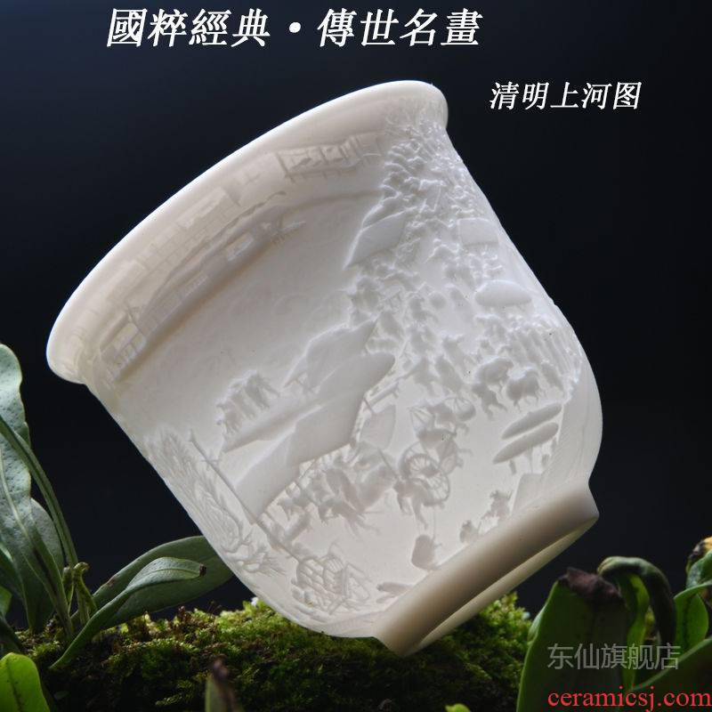 Ceramic kung fu lovers cup single CPU heart sutra cup individual sample tea cup masters cup household glass cups