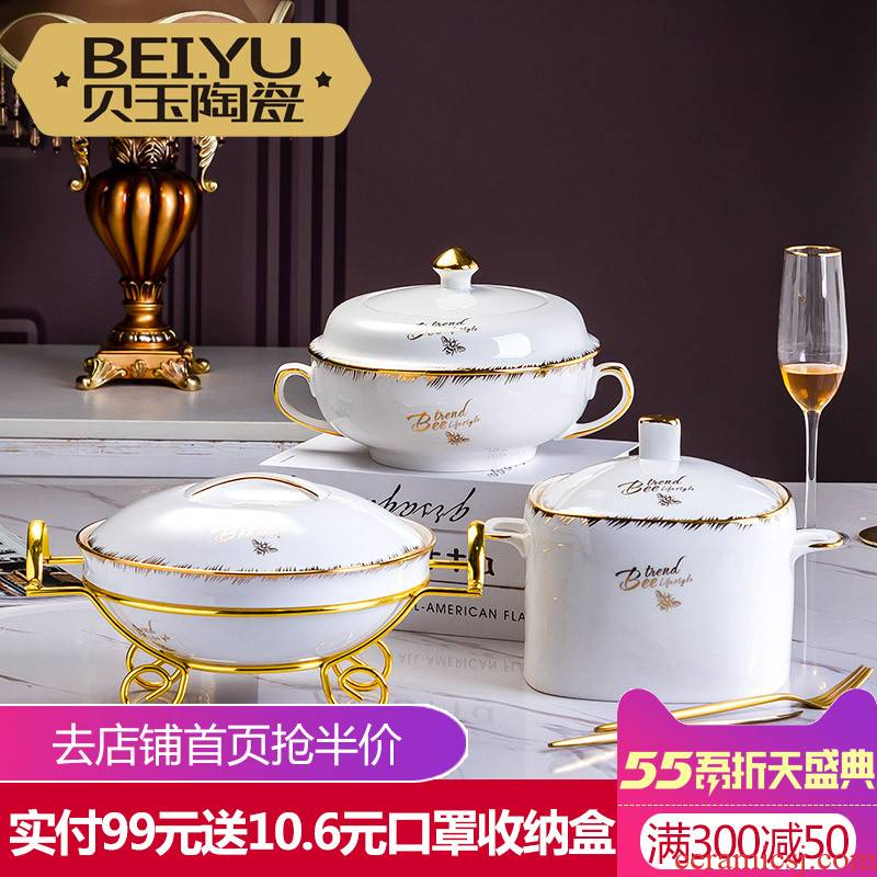 BeiYu bee jingdezhen tureen large household mercifully rainbow such as bowl with cover basin bowl of pickled fish soup ceramic bowl
