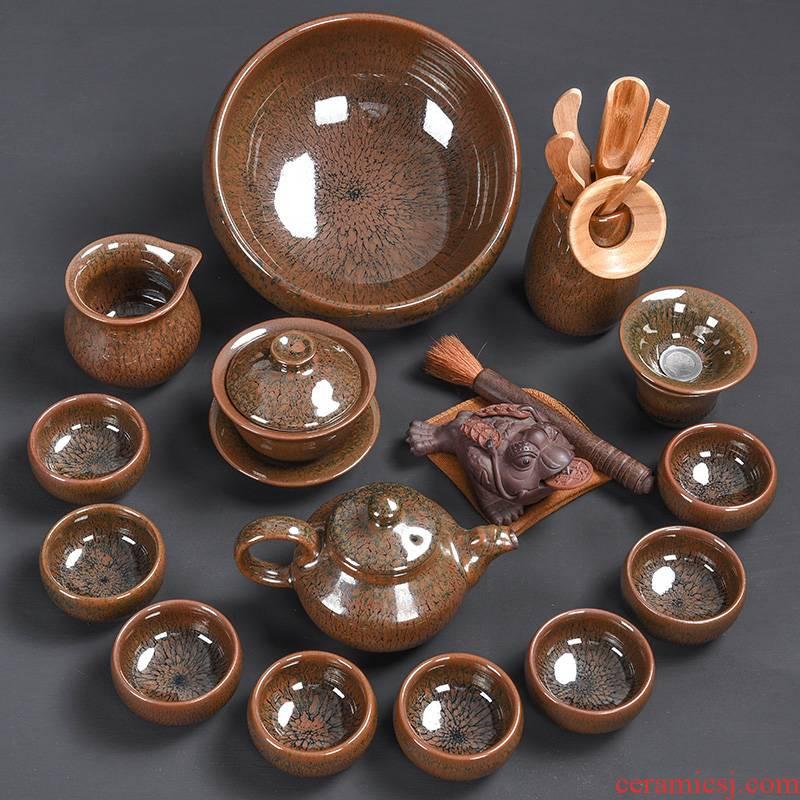Tao blessing jianyang tire iron partridge spot to build light tea suit household YinJian lamp that teapot teacup the silver tea set