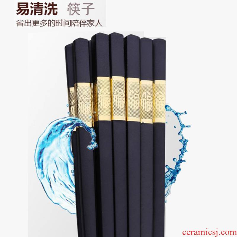 The Open household utensils hotel alloy chopsticks family suit 10 pairs of antiskid not moldy household solid wood chopsticks
