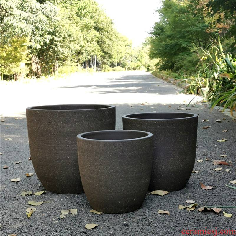 Package mail promotion of rural courtyard oversized element face coarse sand clay POTS landing coarse pottery pot clay composite ceramic L