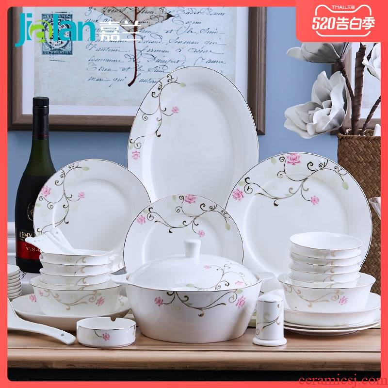 Garland 56 head tangshan ipads bowls disc suit European household tableware ceramic dishes suit wedding gift combination